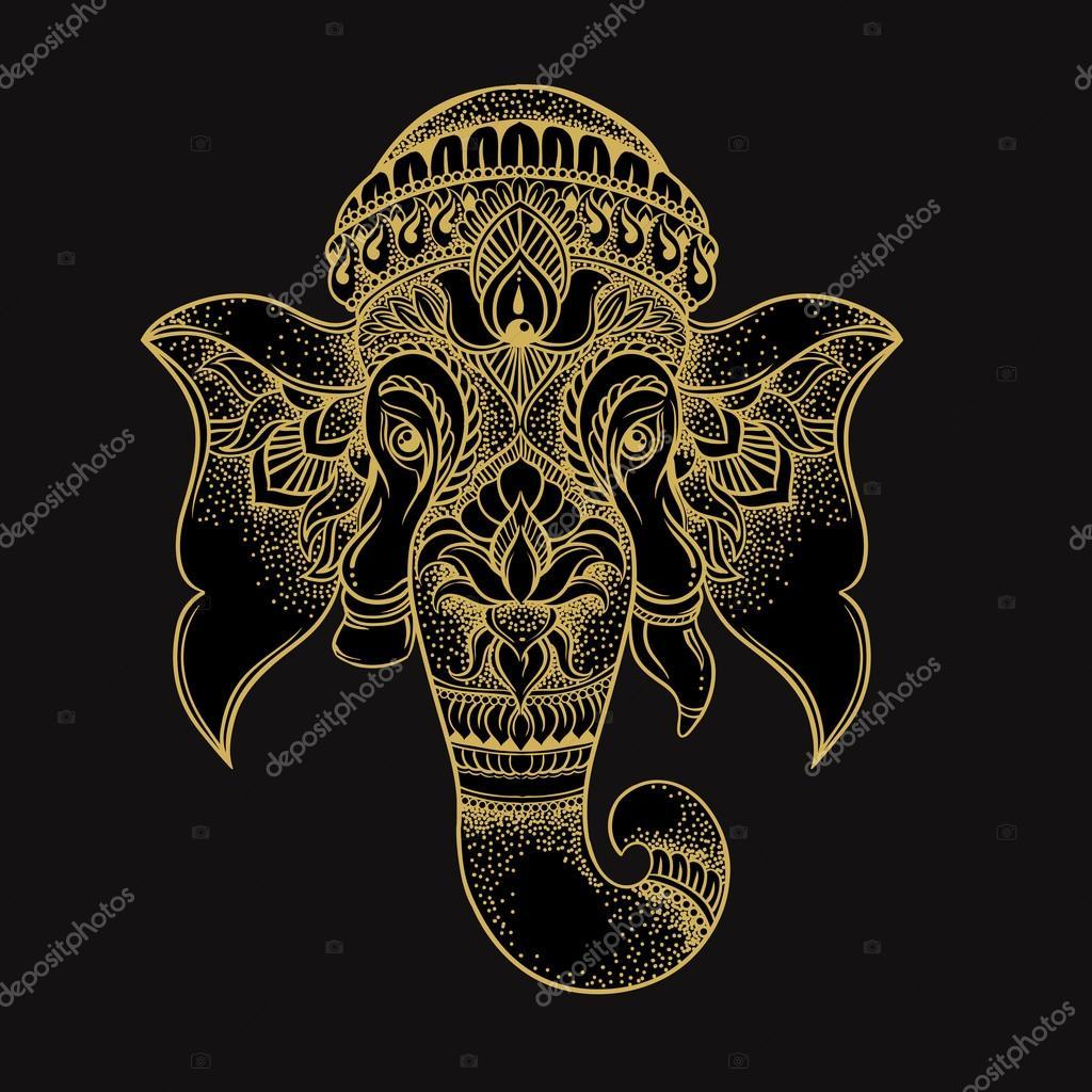 683a246700241 Cabeza de elefante dibujado a mano estilo tribal. Ilustración de vector de  hindú señor Ganesha. Diseño de camiseta - elefante hindu dibujo ganesha —  Vector ...