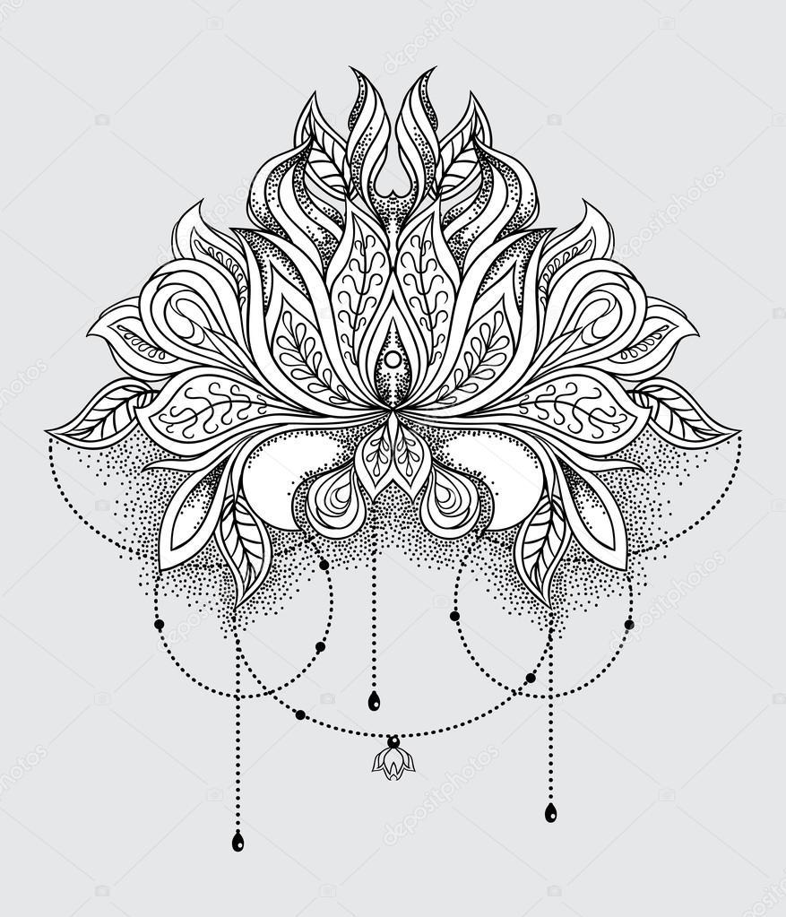Flor De Loto Dibujada Flor De Loto Ornamental Dibujada Mano
