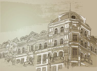 Vintage building. Vector illustration.