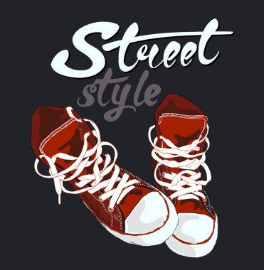 Sneakers graphic design. Vector illustration