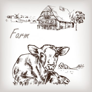 Farm set. House, cow, homestead hand drawn vector illustration in sketch style stock vector