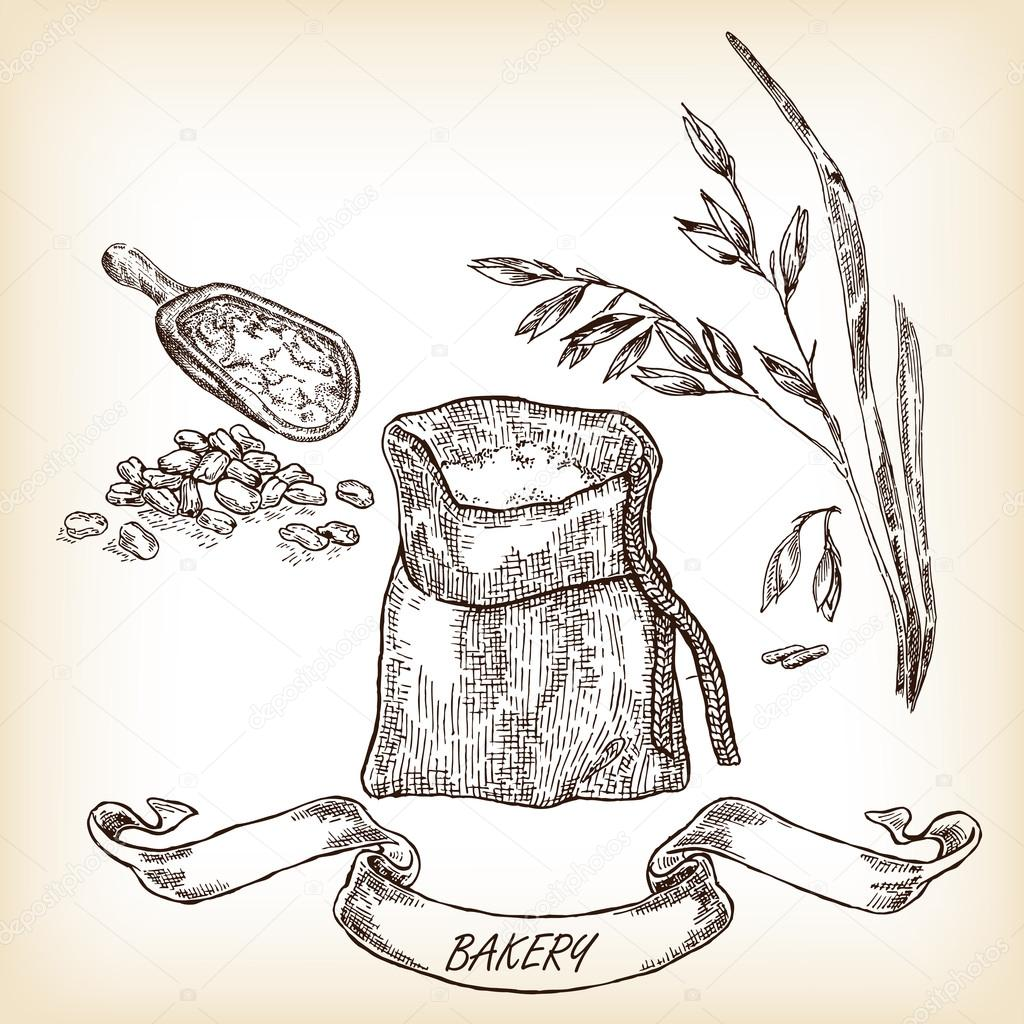 Hand drawn sack, grain, meal, oats. Vector