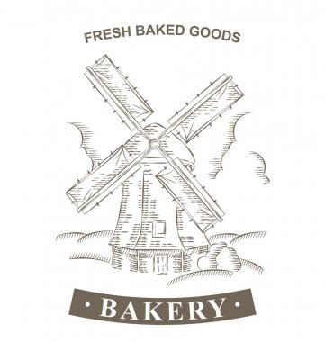 Vintage Windmill Logo Bakery design vector template. Hand drawn
