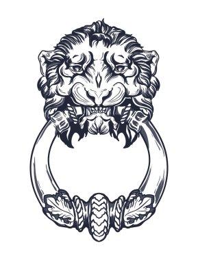 Lion head door knocker. Hand drawn vector illustration isolated