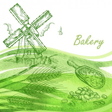 Bakery set. Hand drawn windmill, wheat, grain with watercolor