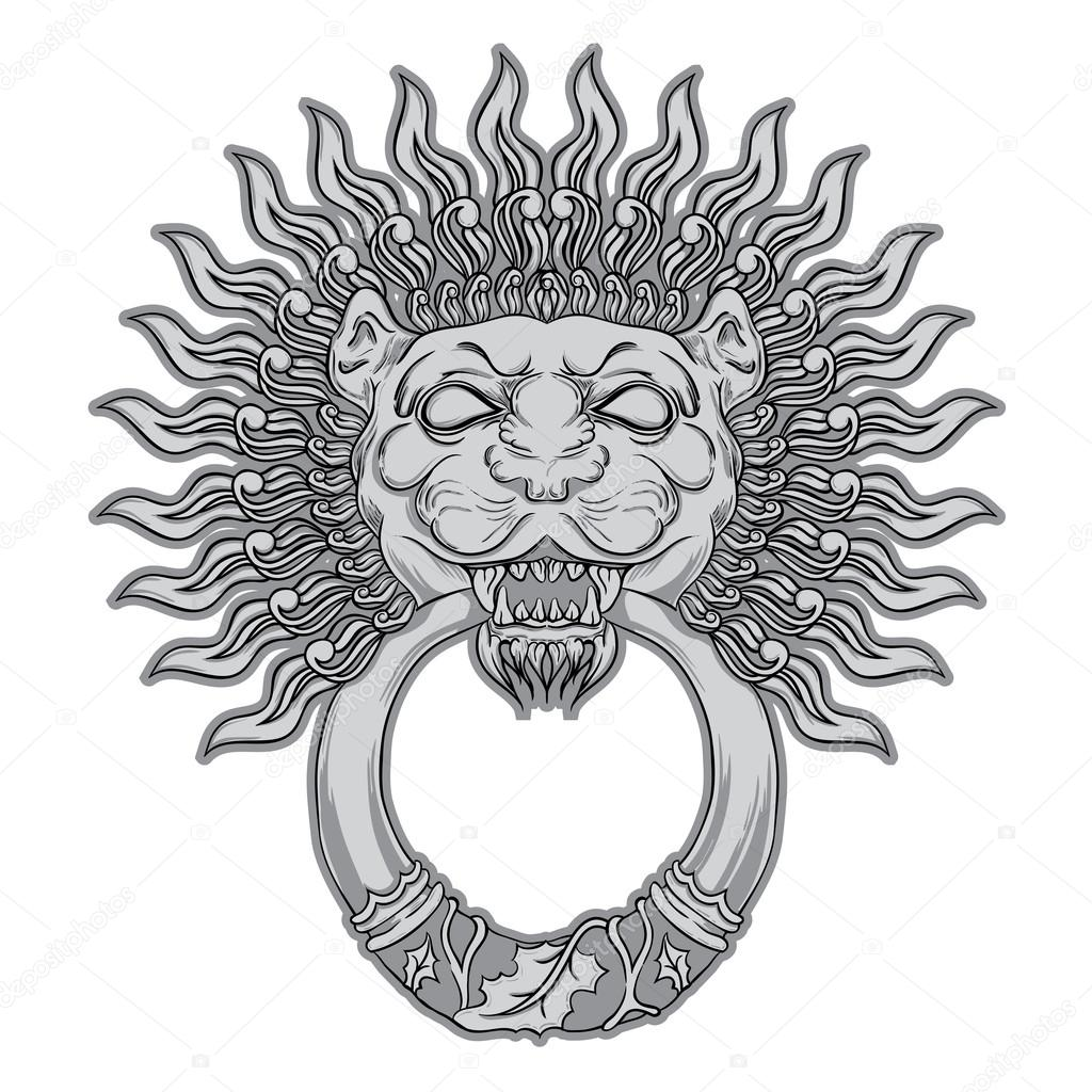 Silver Lion Head On Black Background. Door Knocker. Hand ...