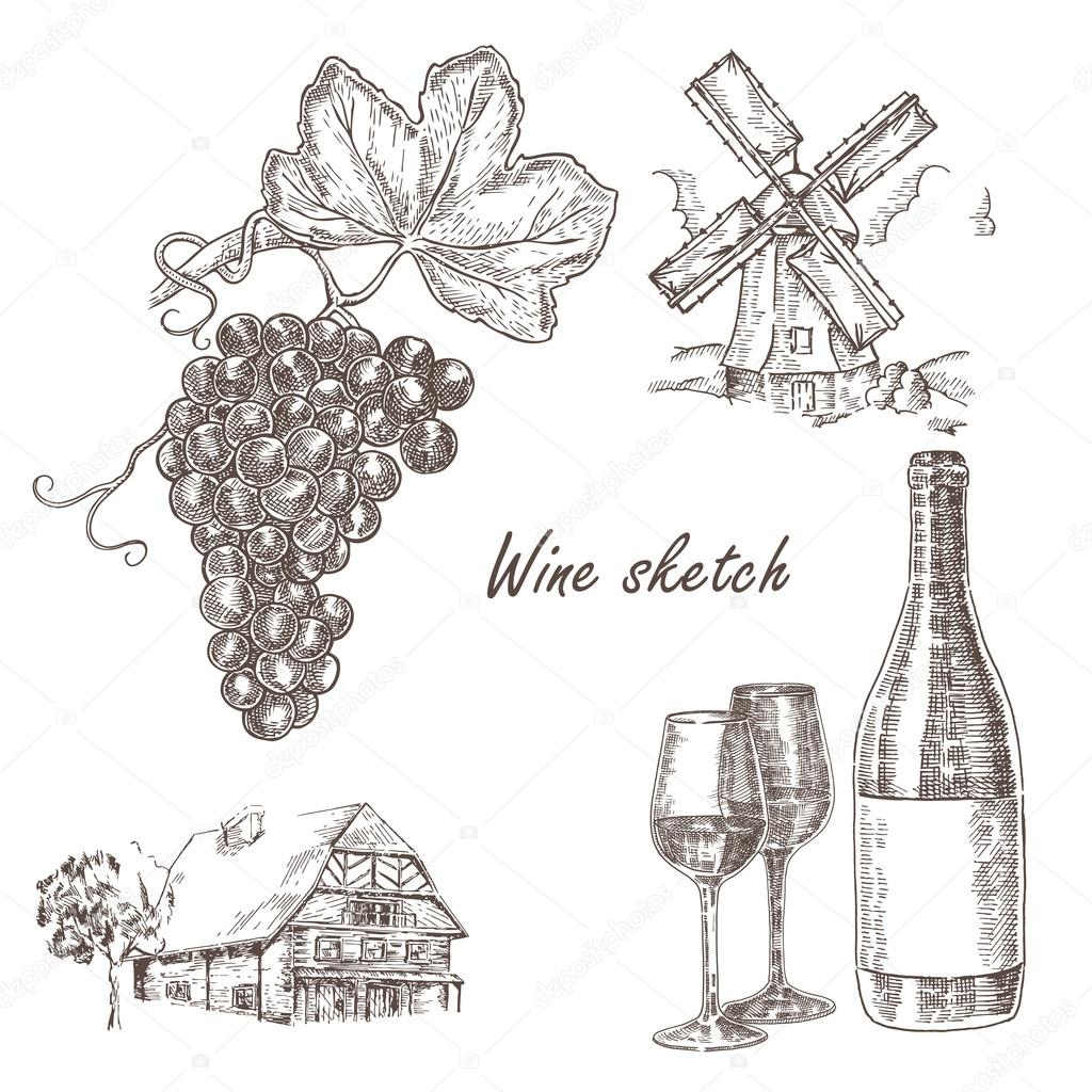 Wine set. Hand drawn bottle of wine, glass, bunch of grapes, windmill