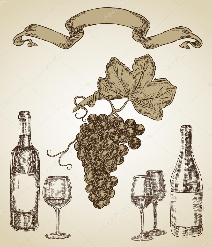 Wine set hand drawn. A bottle of wine, a glass and a bunch of grape
