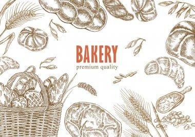 Bread design template. Bakery set.