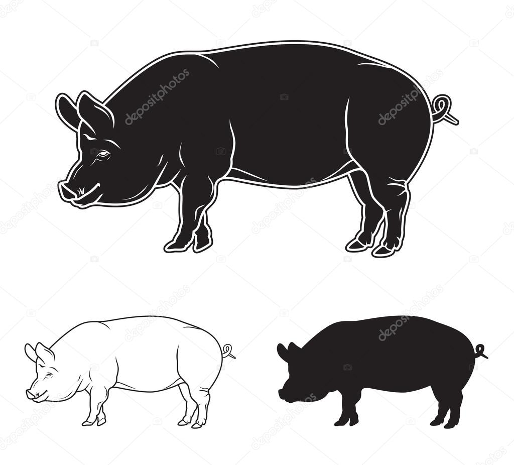 Symboles De Viande Mis Porc Boeuf Agneau Lapin Main