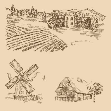 Rural landscape. Hand drawn vineyard, farm house and windmill. Vector