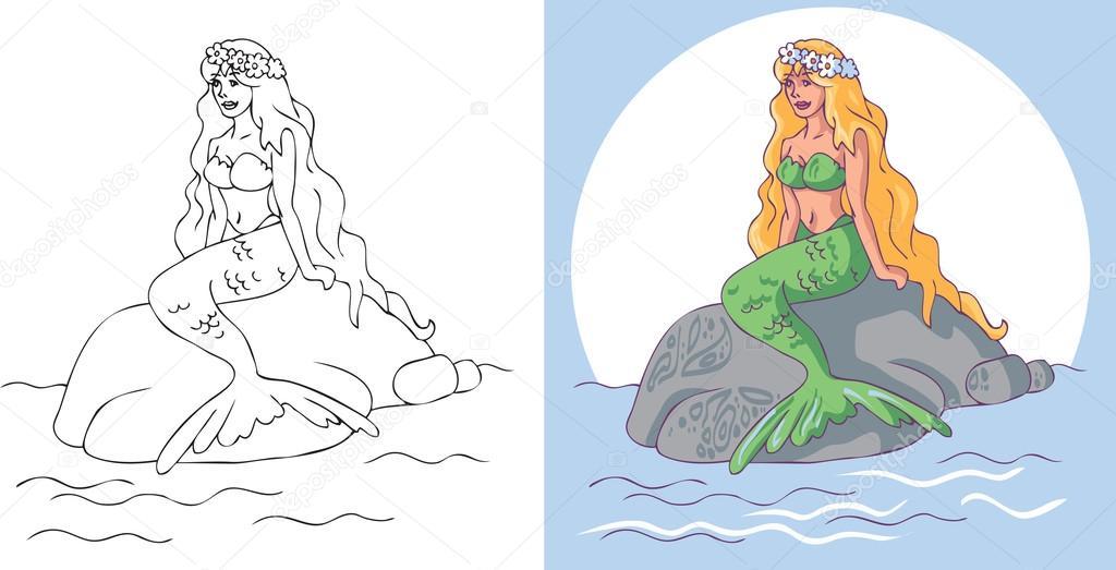 Taş üzerine Oturan Deniz Kızı Stok Vektör Olga1983siv1 114859504