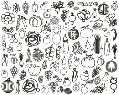 Vegetables and Fruits contour