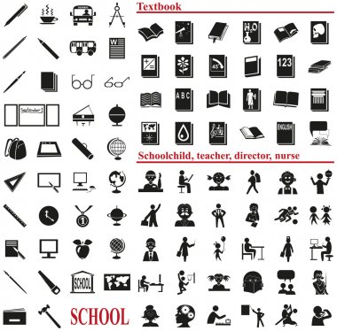 school icons on white