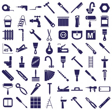 repair tools icons on white