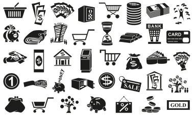 money icons isolated on white