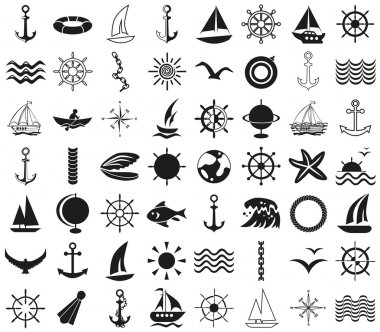 Icons sea, ships, travel on white