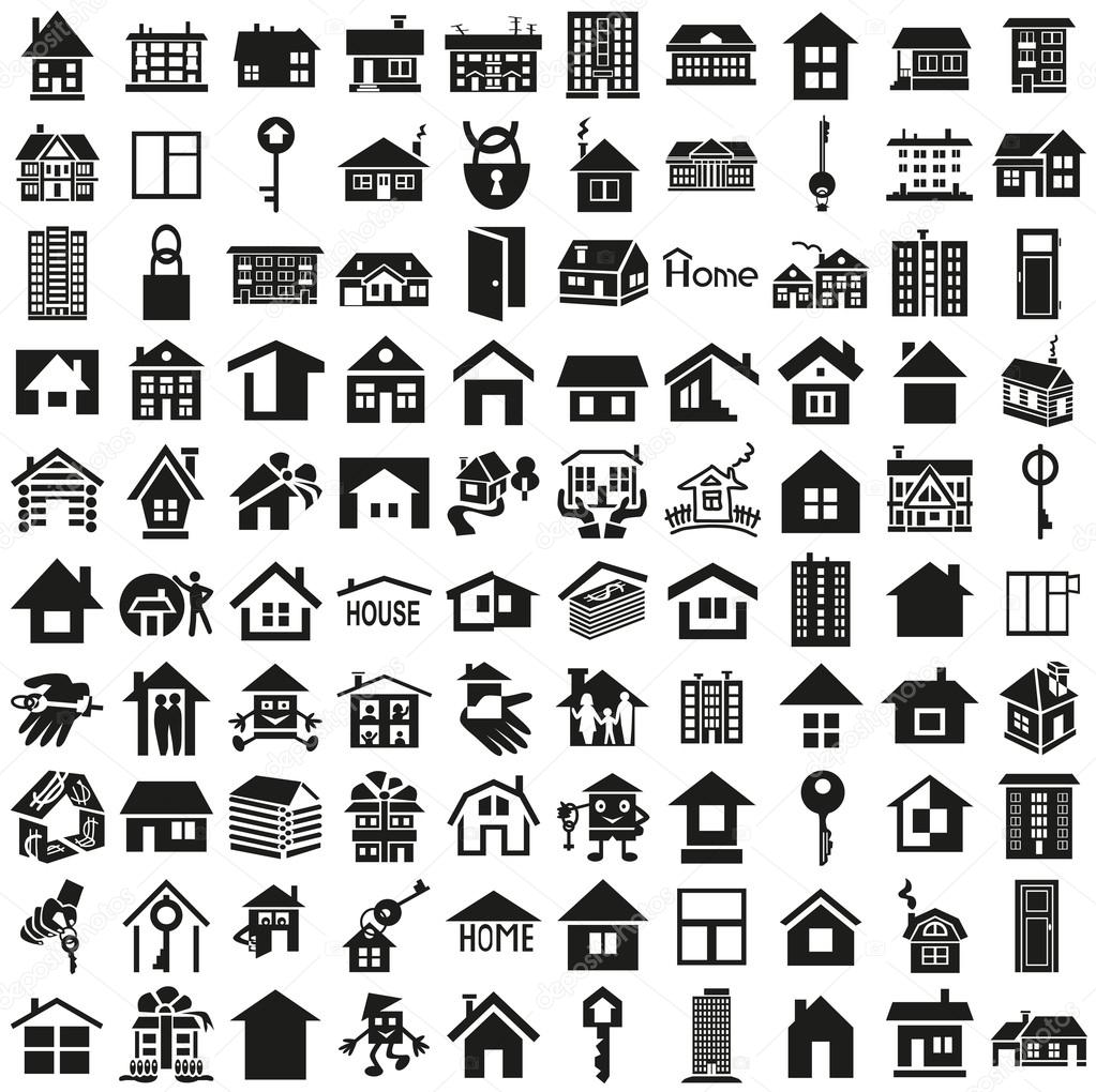 Home icons on white