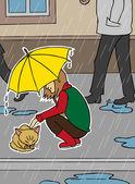 dívka a bezdomovci kočka v dešti