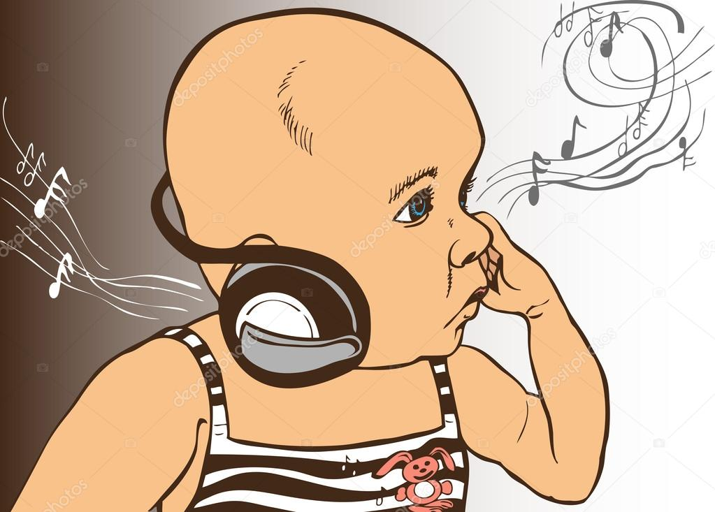 Baba zene fejhallgató — Stock Vector