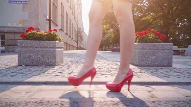 Sexy woman legs in red shoes