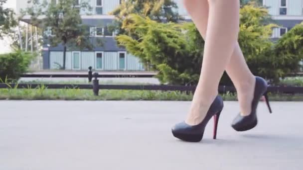 Sexy woman legs in black shoes