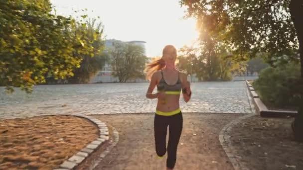 Žena běžec běží v parku