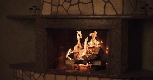 Cozy burning fire