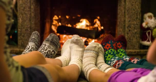 Feet warming by cozy fire