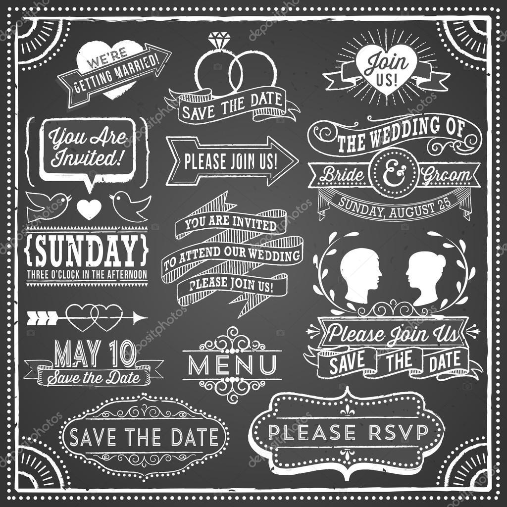 Tafel Hochzeit Einladung Elemente U2014 Stockvektor