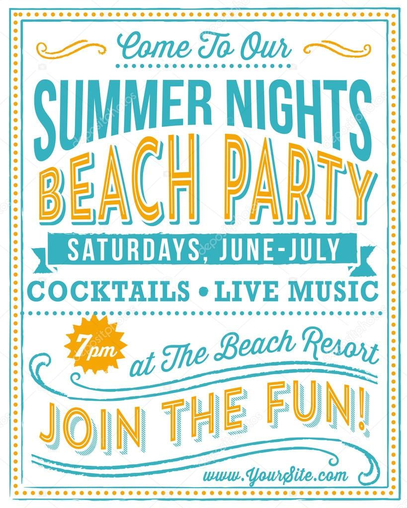 Vintage Beach Party Poster Stock Vector