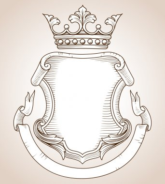 Hand-drawn, highly detailed Coat of Arms illustration.  Copy space available on shield and banner for your text or image.  Colors can be edited easily. stock vector