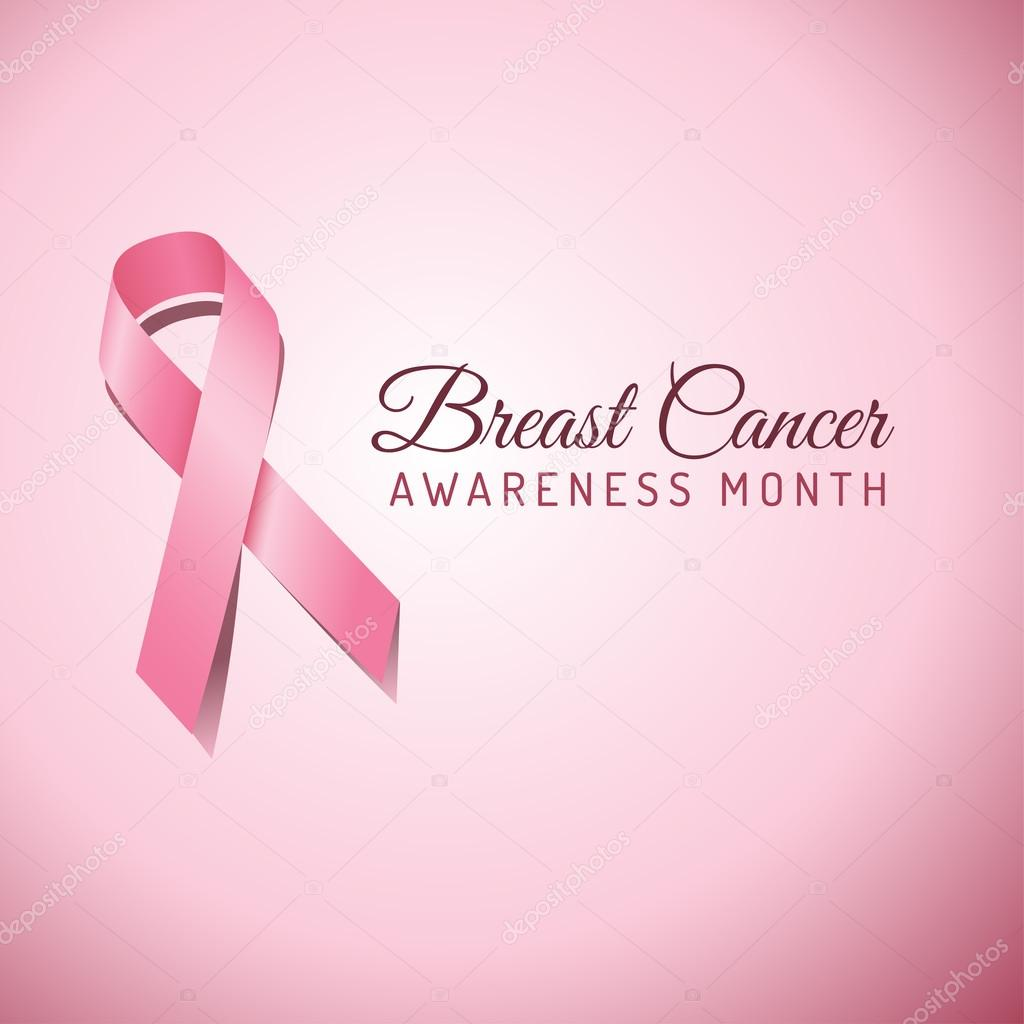Breast Cancer Awareness ribbon on a pink background.  File is layered, and colors are global swatches for easy editing.  File is EPS 10 with transparency. stock vector