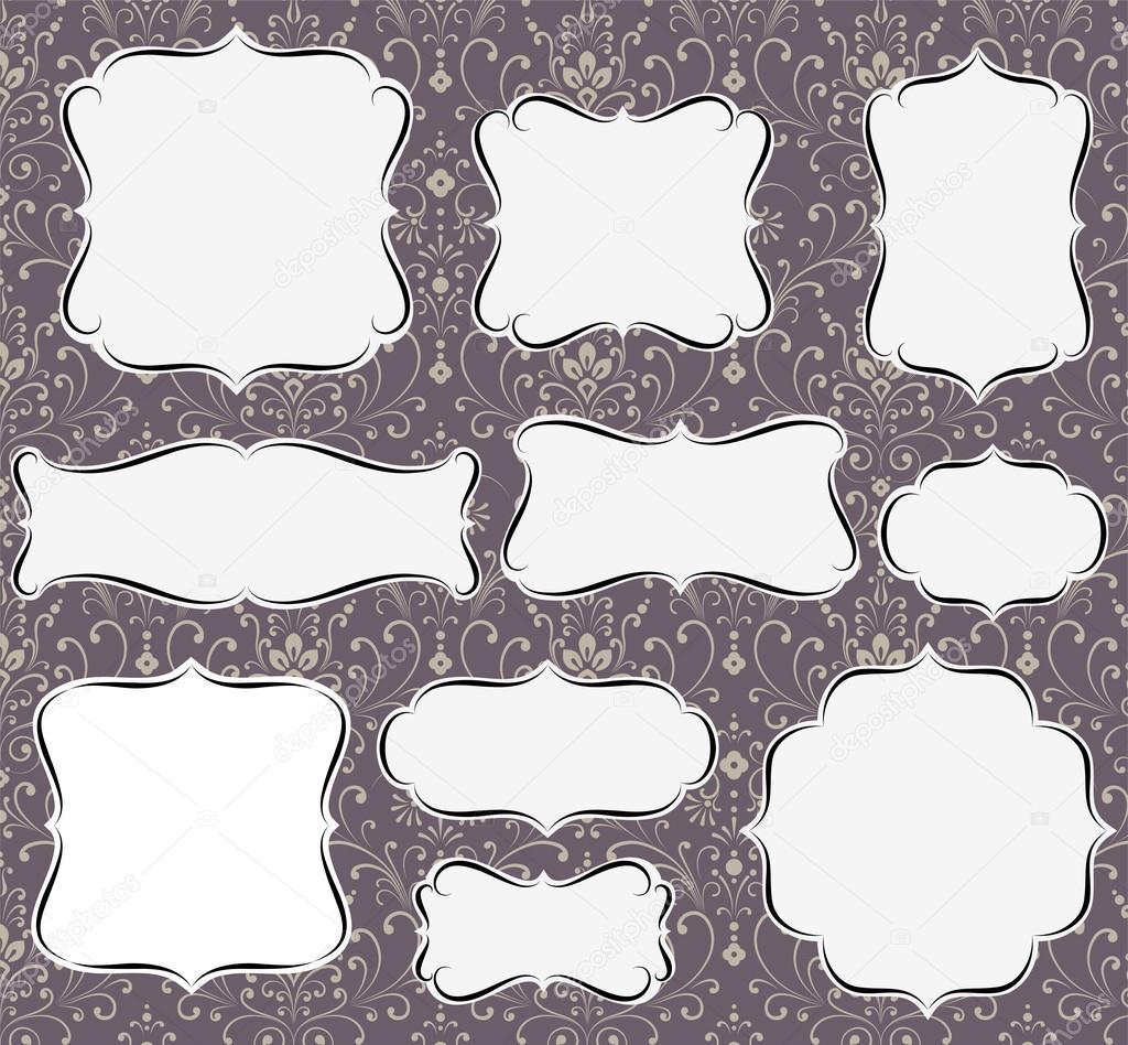 Calligraphic frames on damask background stock vector calligraphic frames on damask background stock vector jeuxipadfo Gallery