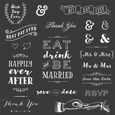 chalkboard wedding typography