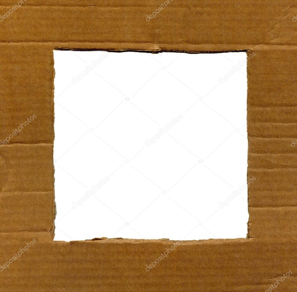 Strukturierter Karton Rahmen mit Ecken und Kanten isoliert ...