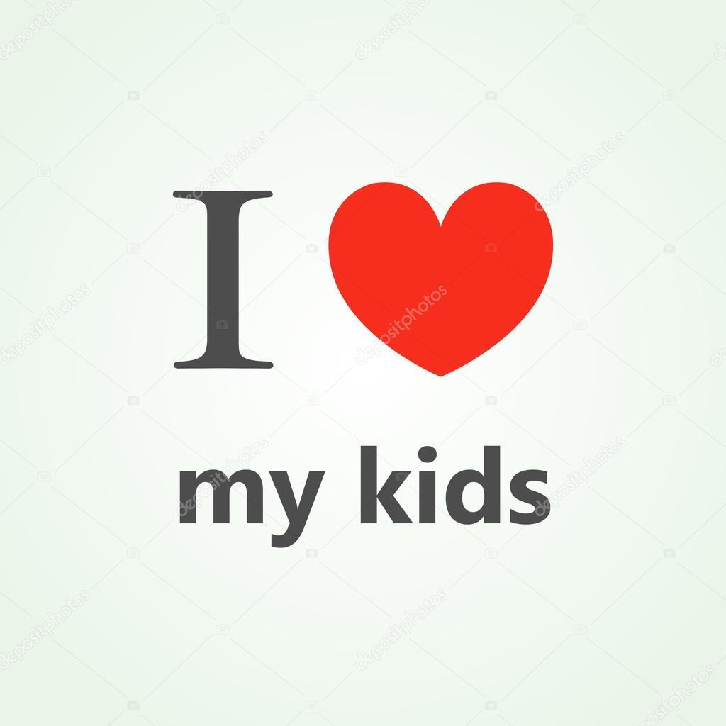 Bevorzugt Ich liebe meine Kinder-Text Beschriftung mit Herz — Stockvektor  BZ62