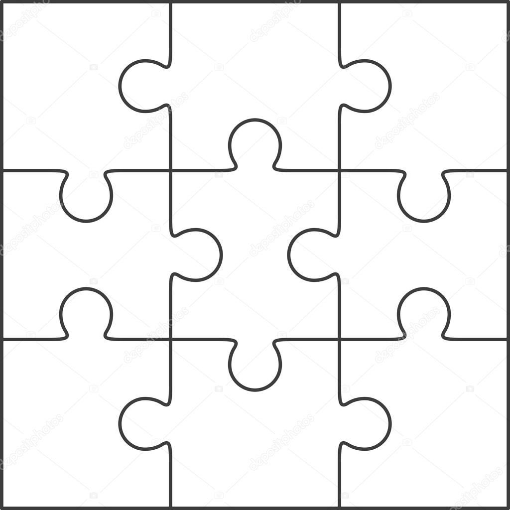 Jigsaw Puzzle Blank Template 3x3 Stock Vector