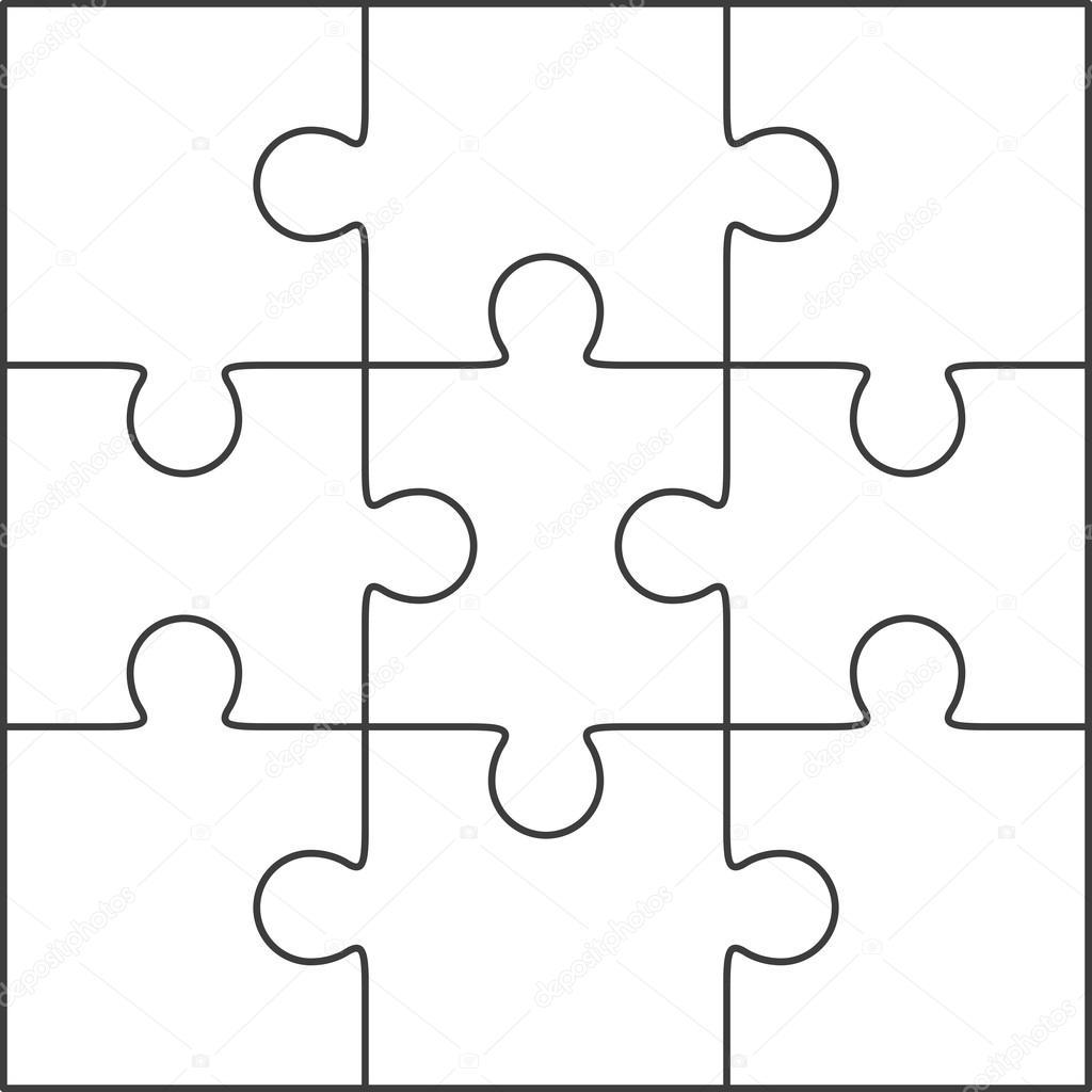 jigsaw puzzle blank template 3x3 stock vector binik1 74110021