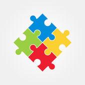 Fotografia Illustrazione di vettore di quattro pezzi di puzzle colorato