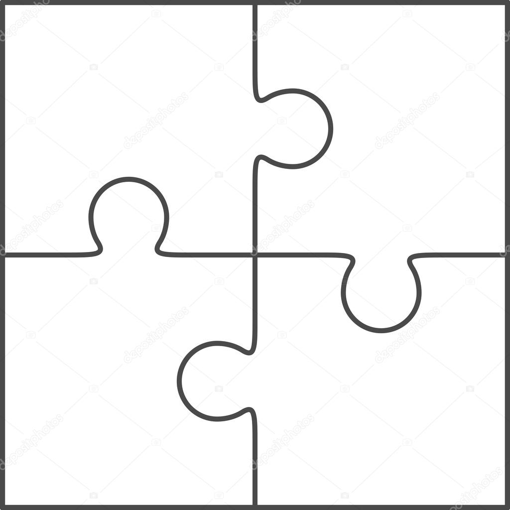 Jigsaw Puzzle Blank Vector 2x2 Four Pieces Stock