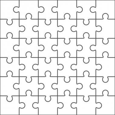 Jigsaw puzzle blank template, 36 pieces