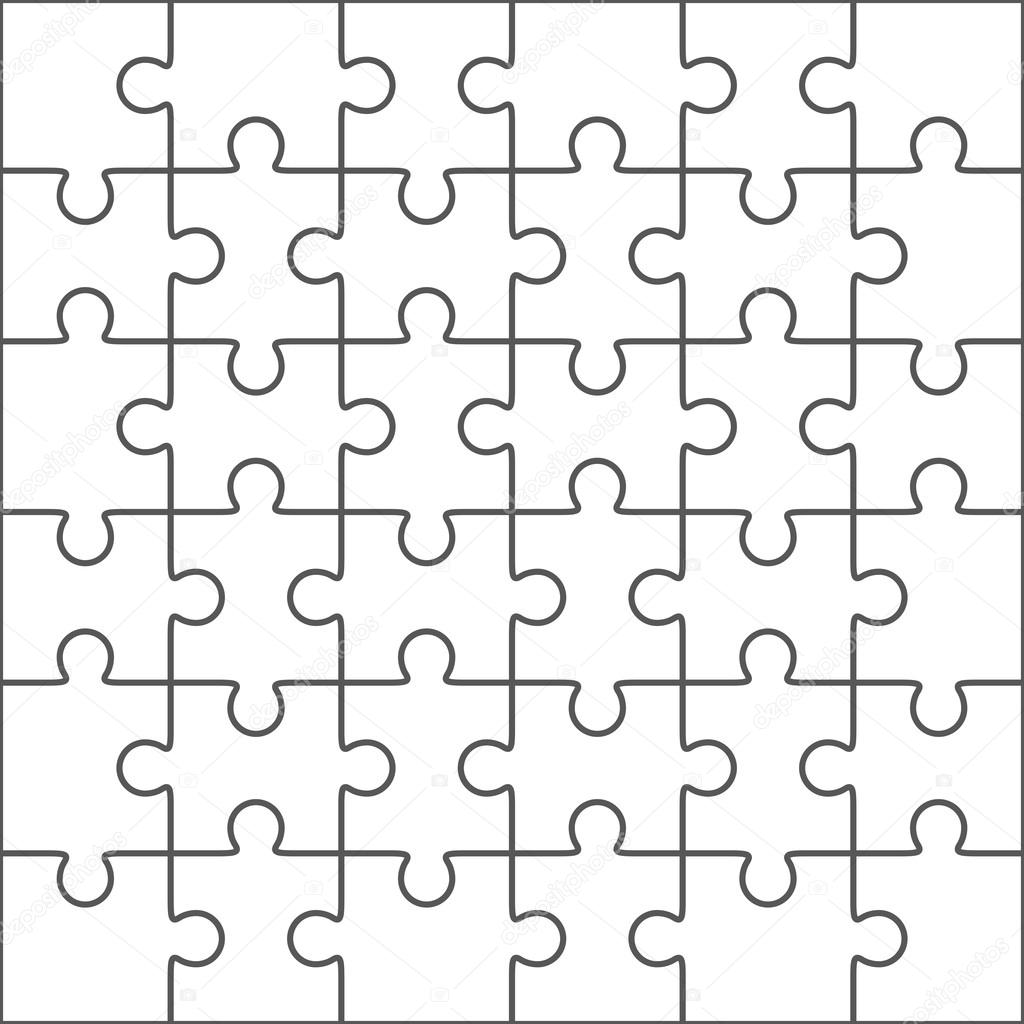 Jigsaw Puzzle Blank Template 36 Pieces Stock Vector