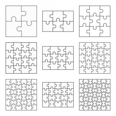 Jigsaw puzzle nine vector flat blank templates set