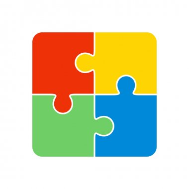 Colorful jigsaw puzzle four pieces