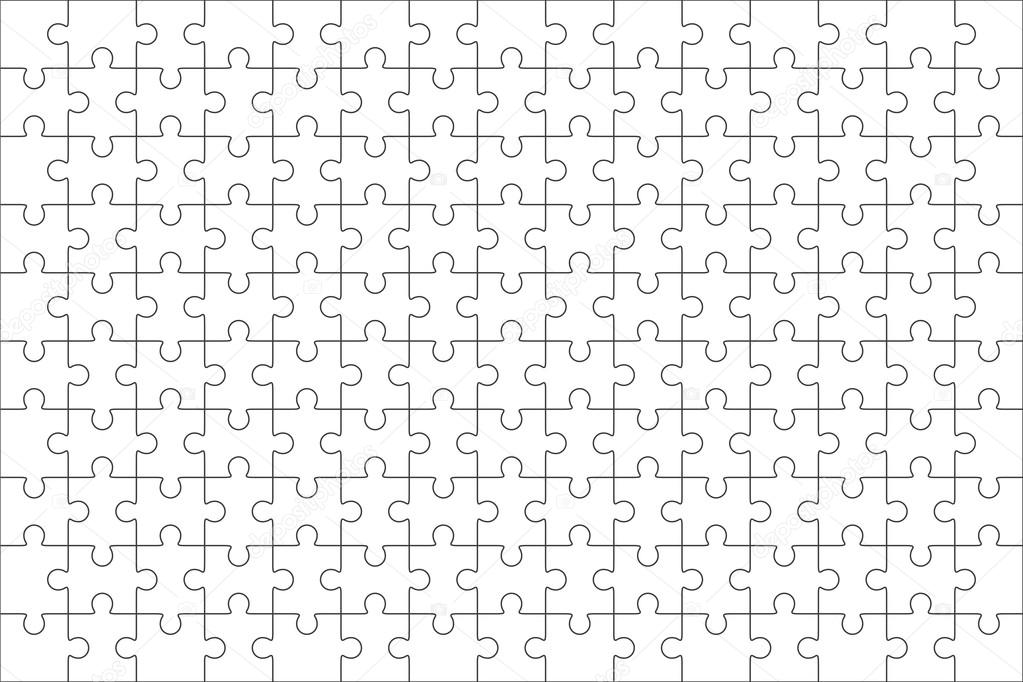 Jigsaw Puzzle Blank Template  Pieces  Stock Vector  Binik