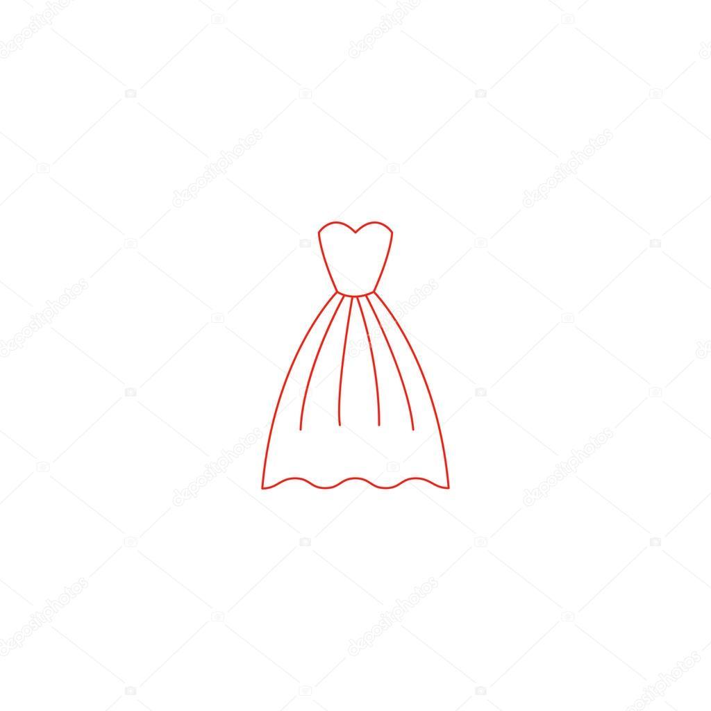 d73c176b12d08c Elegante rode jurk pictogram — Stockvector © binik1  94153558