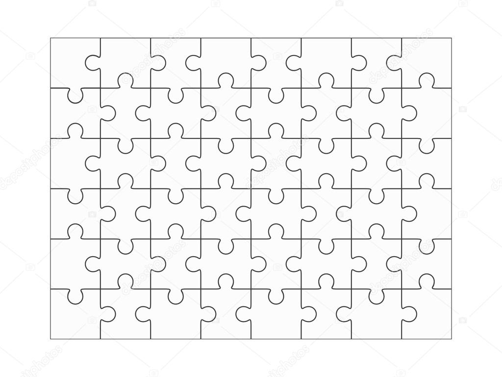 Jigsaw puzzle blank 6x8 elements, fourty-eight vector ...