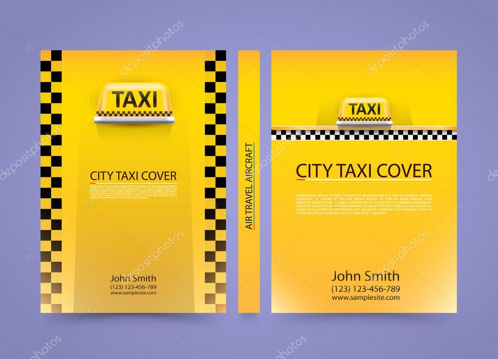 Taxi Visitenkarte Traffic Abdeckung Größe A4 Vektor