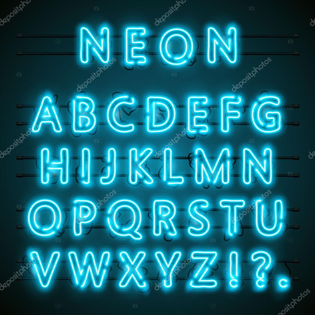 neon schrift text blaue englische lampe alphabet vektor illustration stockvektor hobbit. Black Bedroom Furniture Sets. Home Design Ideas